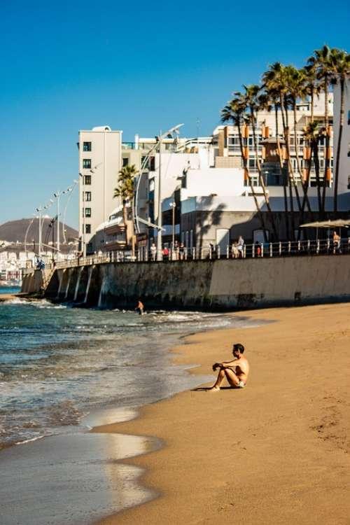 Man Seaside Beach Sand Sea Holiday Blue