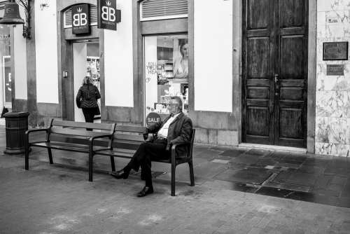 Man Bank Sit Person Alone Black And White Mood