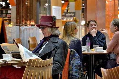 Man Reading Newspaper People Sitting Elderly