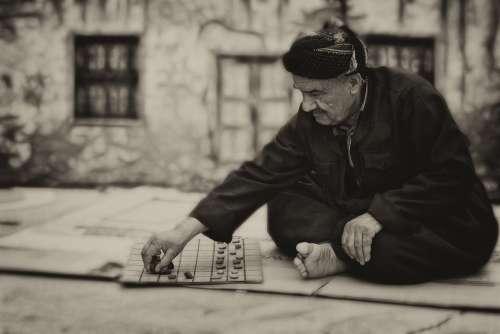 Man Board Game Old Elderly Portrait People Street