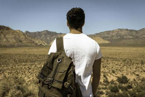 Man Person Outdoors Backpack Exploring Nature