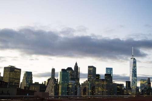 Manhattan Downtown Nyc Skyline America
