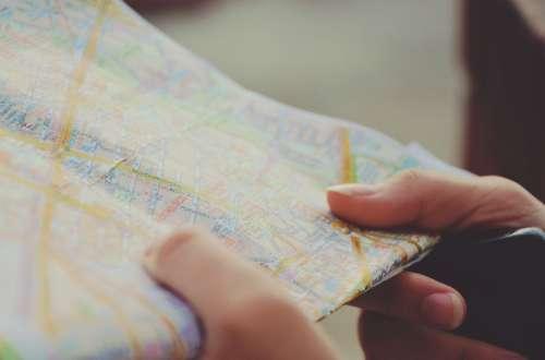 Map Navigation Hands Travel Route Journey City