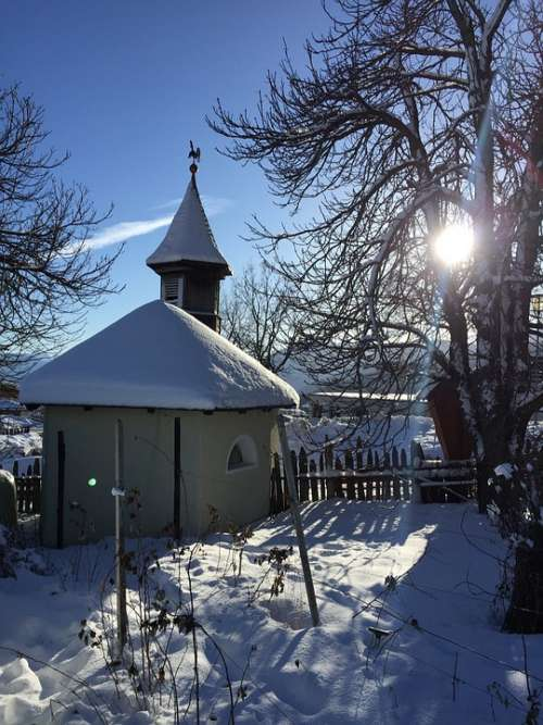 Maranza Meransen Chapel South Tyrol Snow Dolomites