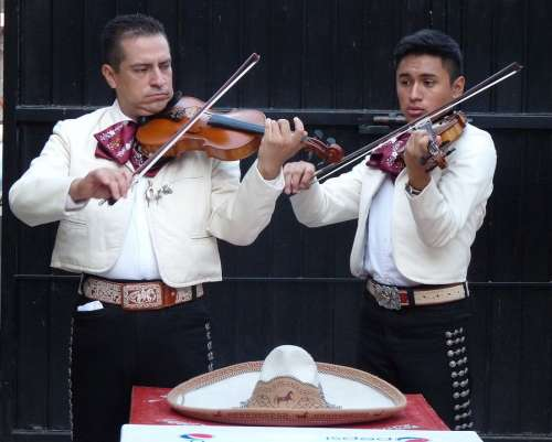 Mariachis Musicians Mexico Violins Hat