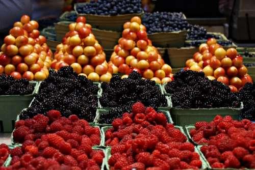 Market Fruits Raspberries Cherries Black Berries