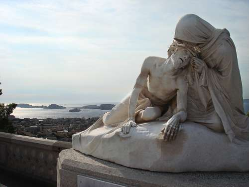 Marseille Statue Maria Jesus Sea Port Sea View