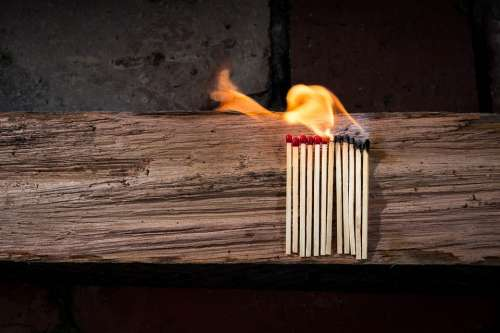 Matches Matchstick Flammable Wood Fire Glow Heat