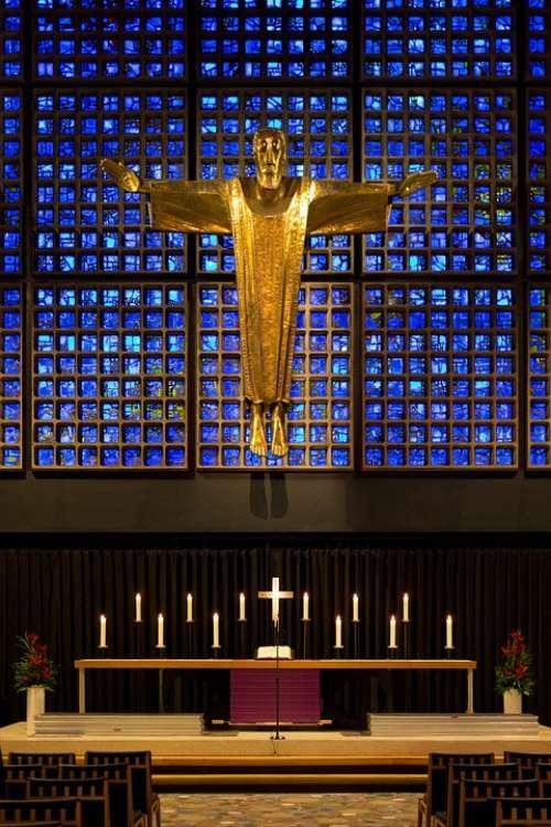Memorial Church Modern Altar Gold Cruciform Christ