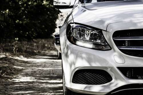 Mercedes Benz White Modern Vehicle Transportation