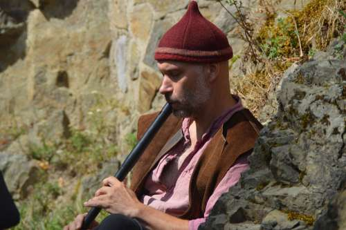 Middle Ages Flute Jester Instrument Woodwind