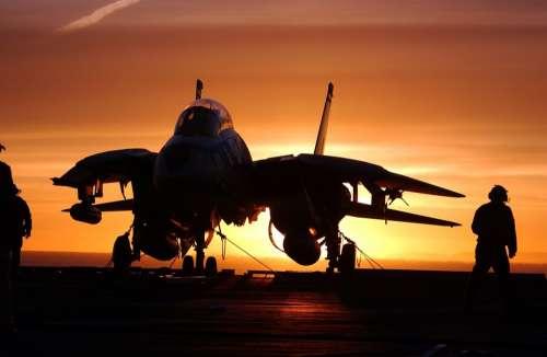 Military Jet Fighter Aircraft Carrier Sundown