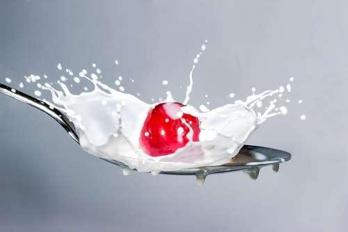 Milk Splash Milk Cherry Spoon Spray Falling Cherry