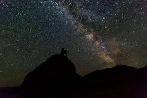 Milky Way Rocks Night Landscape Silhouette Sky