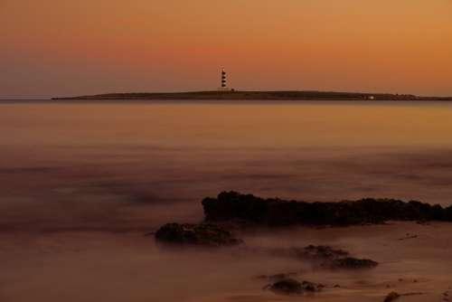 Minorca Punta Prima Lighthouse Sea Sun Calm