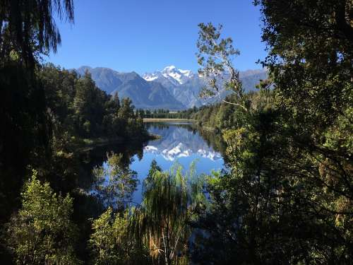 Mirror Lake New Zealand Travel Panorama Landscape