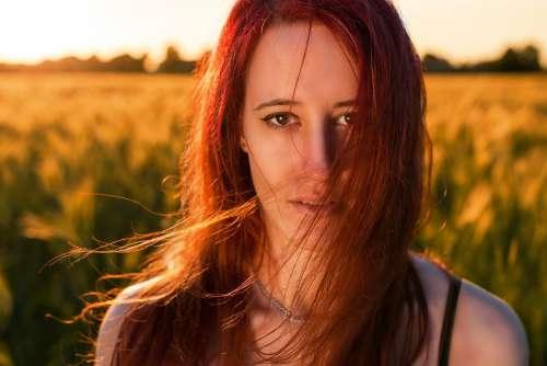 Model Woman Red Head Brunette Nature Portrait