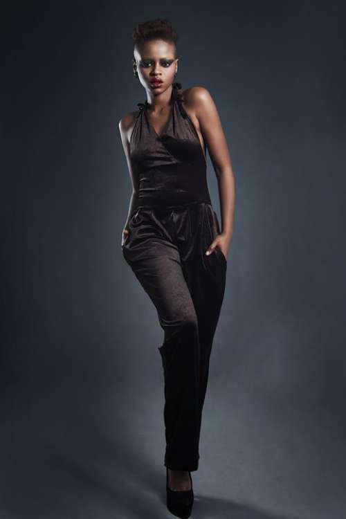 Model Fashion Jumpsuit Black Woman Beautiful Lips