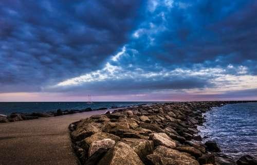 Mole Sea Sunset Evening Ocean Stones Away Road