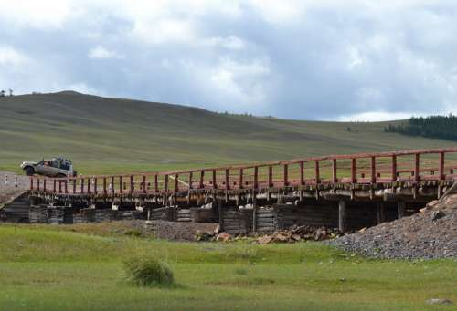 Mongolia Bridge Steppe