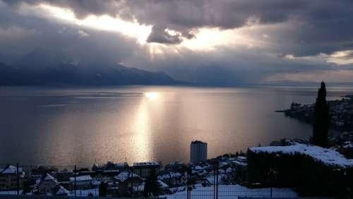 Montreux Winter Lake Geneva Reflections Sky