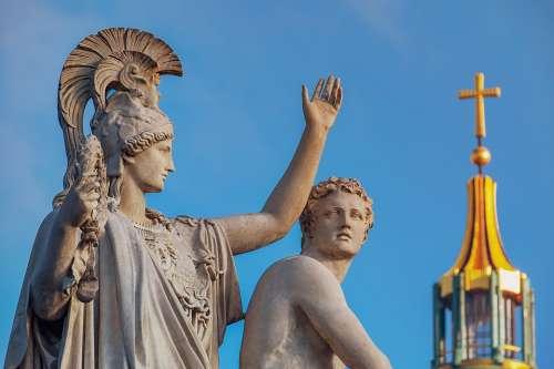 Monument Sculpture Greek Gods Figures Artwork