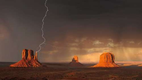 Monument Valley Lightning Storm Weather Clouds