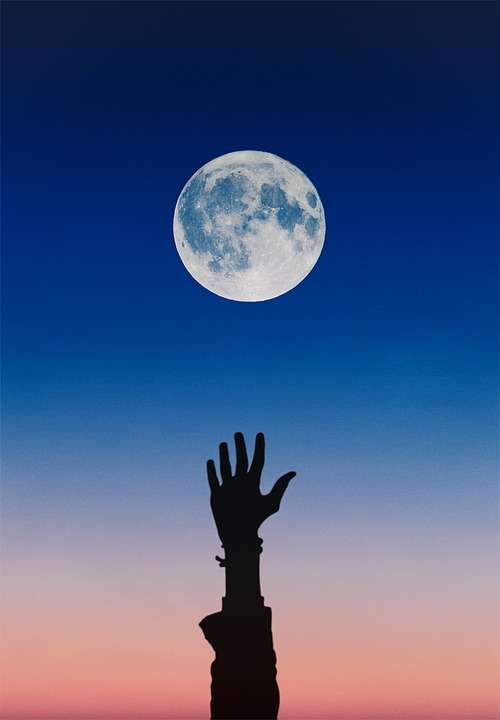 Moon Sky Blue Hand Arm Night