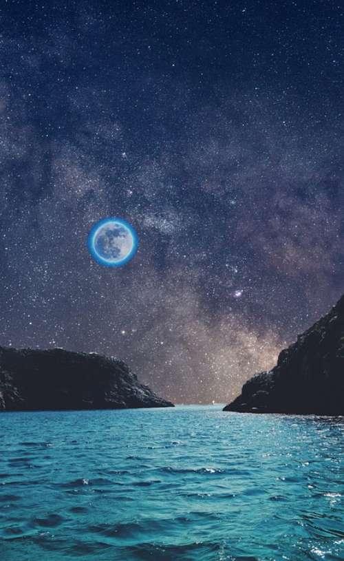 Moon Moonlight Night Sky Shining Star