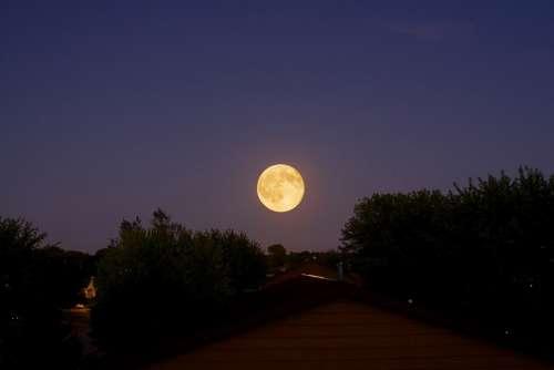 Moon Night Dark Moonlight Sky Landscape
