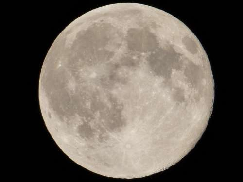 Moon Full Dark Close Bright Surface Crater Night