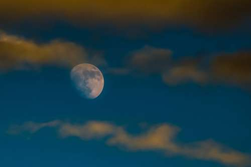 Moon Rising Sky Clouds Afternoon Nature Evening