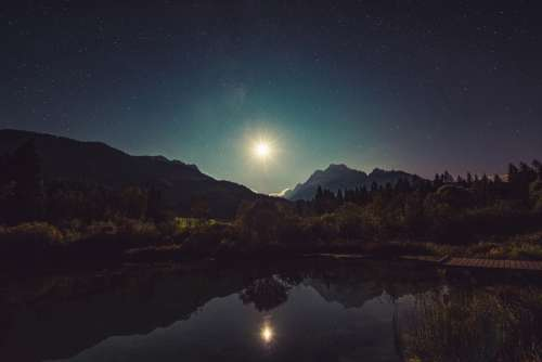 Moonshine Lake Reflection Night Landscape Idyllic