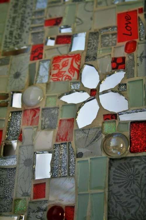 Mosaic Handwork Skill Craft Art Red White