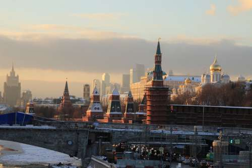 Moscow Sunset River The Kremlin Charge Landscape