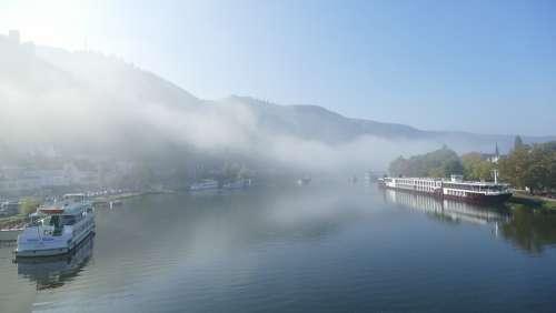 Mosel Morning Fog River Sachsen Ships Water