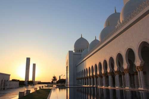 Mosque Reflection Water Abu Dabhi Uae