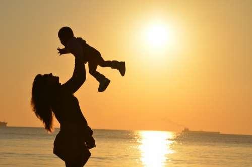 Mother Daughter Love Sunset Mar Ocean