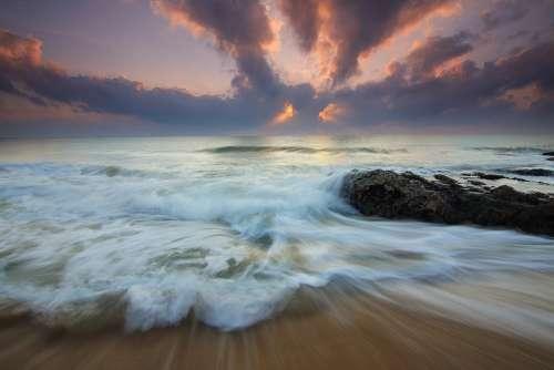 Motion Waves Ocean Cloud Sunrise Sea Flow Water