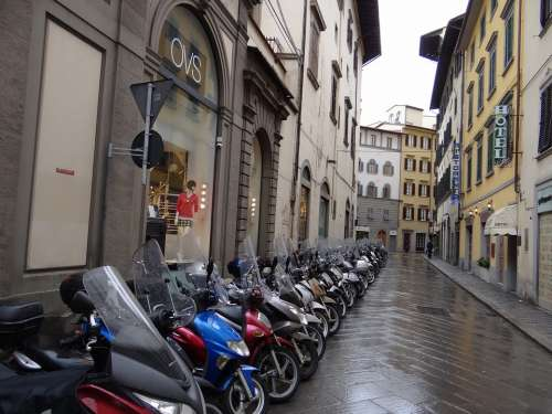 Motor Scooter Road Wet Rain Rainy Florence