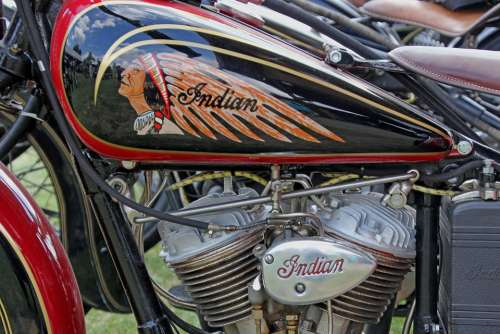 Motorcycle Motor Indian Oldtimer Vehicle Machine