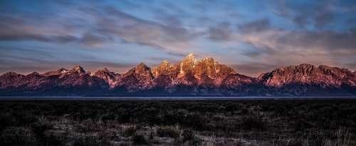 Mountain Teton Range Peaks Mountain Range Landscape