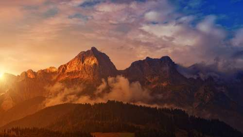 Mountain Sunset Panorama Dawn Landscape Alpine