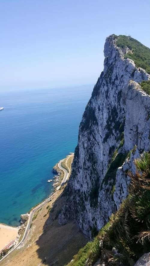 Mountain Sea View Landscape Blue Top Tourism