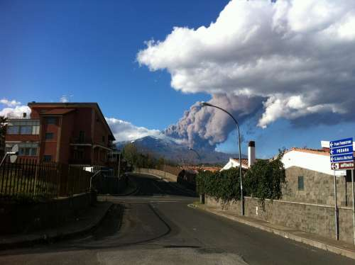 Mountain Etna Ash Smoke
