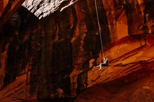 Mountain Climber Abseiling Rapelling Rope