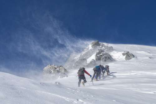 Mountaineering Climbers Storm Rough Cold Wind