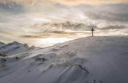 Mountains Landscape Cross Sunlight Summit Top