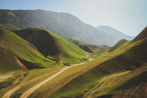 Mountains Dirt Road Hill Landscape Nature Green