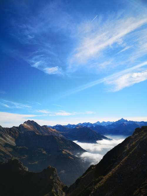 Mountains Alpine Hiking Sky Climb High Trail
